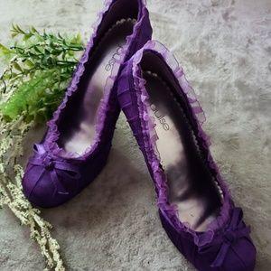 Pulse purple satin slipper heels. Size 9
